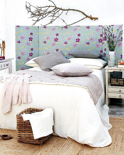 floral fabric bed headboard design, diy bedroom decorating
