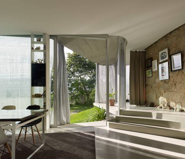 Modern Interior Design With Large Windows Contemporary And Old Stone Walls