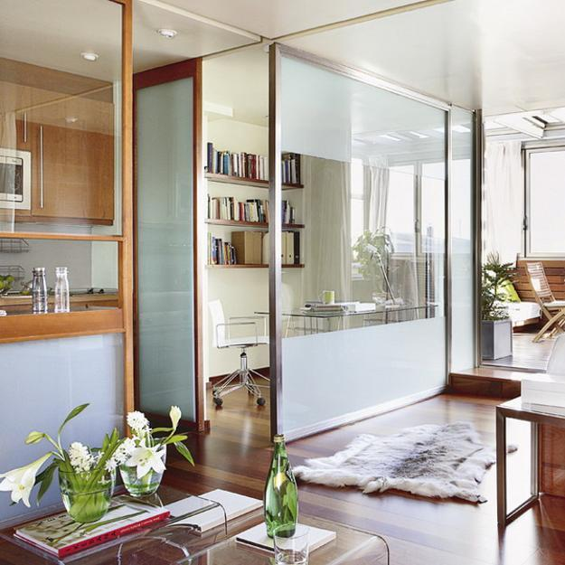 Transparent Room Dividers With Sliding Doors E Saving Ideas For Small Apartments
