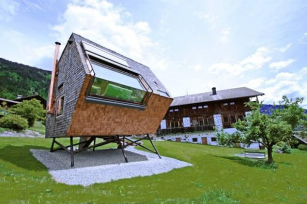 Futuristic Small House Design With Unusual Exterior And Wooden Home Unique House Exterior Design