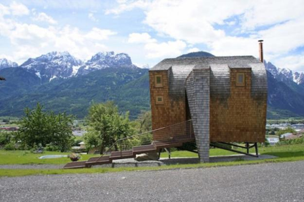 Futuristic Small House Design with Unusual Exterior and Wooden Home ...