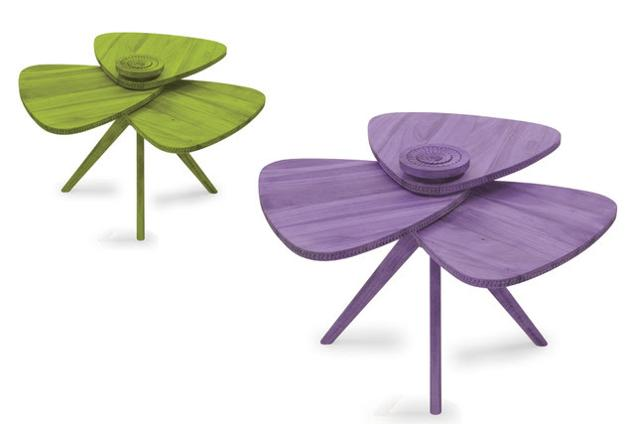 wooden tables with petal shaped tops