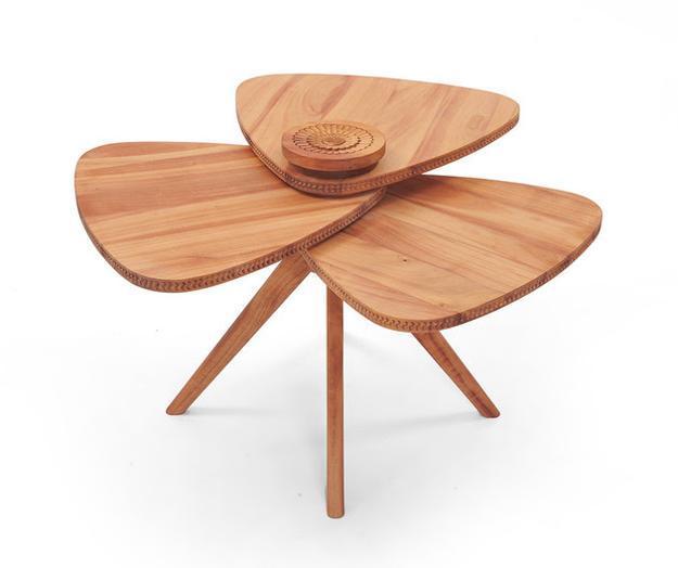 Modern Furniture 2014 Clever Furniture Arrangement Tips: Modern Tables Blending Natural Wood And Flower Petal Shape