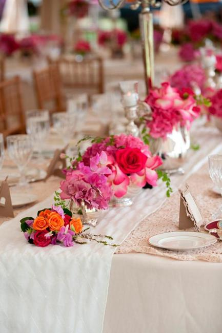 Colorful Floral Arrangements, Bright Table Decorations And Centerpieces