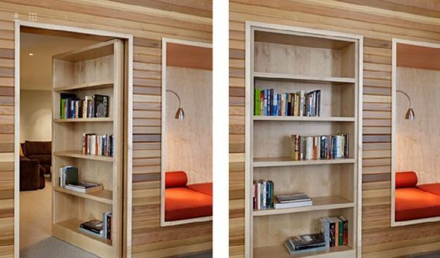 Dark wood bookcase doors for space saving interior design. Wooden walls with interior walls and built-in shelves & Space Saving Interior Doors with Shelves Offering Convenient Storage ...