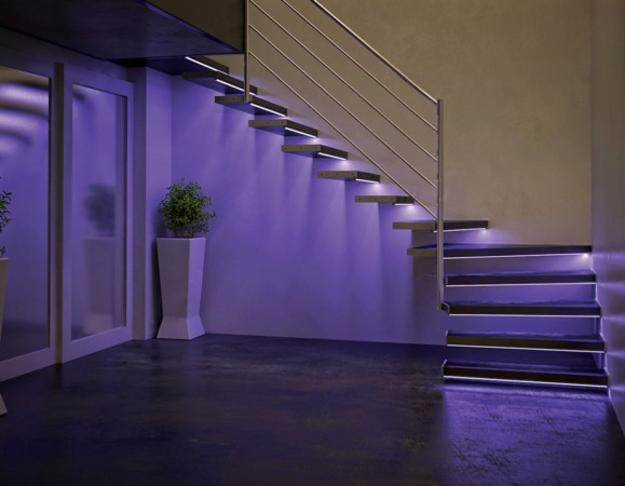 Delightful Staircase With LED Lighting Design