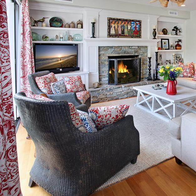 modern living room design with red accents