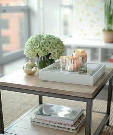 Simple Coffee Table Centerpiece For Living Room Decorating With Flowers And  Candles