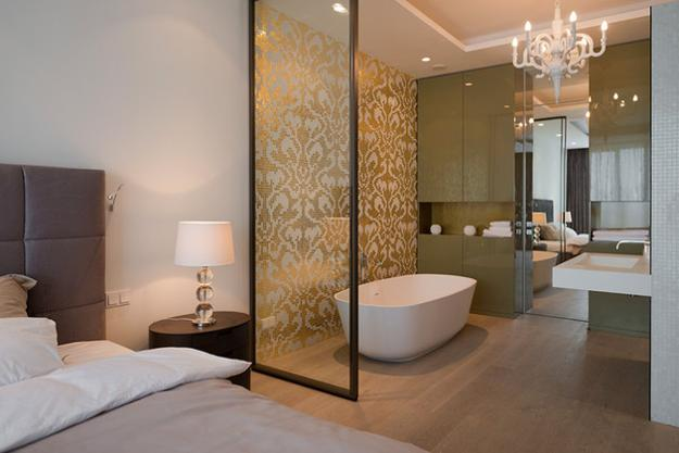 30 all in one bedroom and bathroom design ideas for space for Space saving bathroom designs