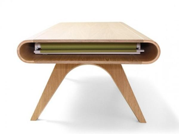 wood table with sliding top cover made of plastic film