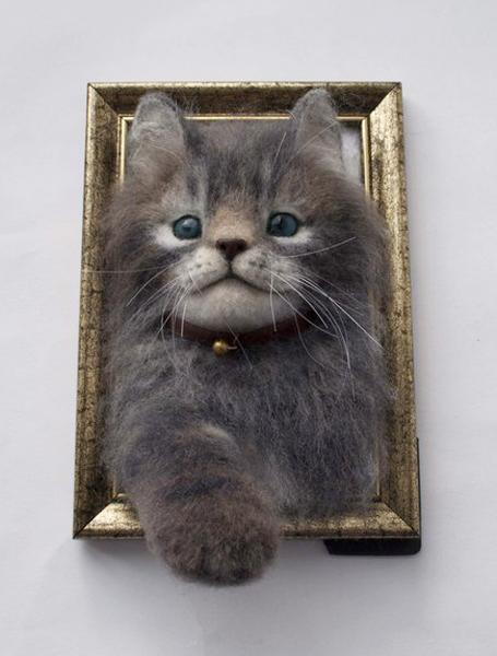 pets portraits created with wool felt