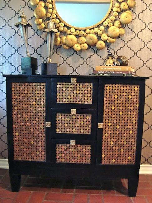 Cabinet Decorated With Coins, Creative Idea For Unique Home Decorating