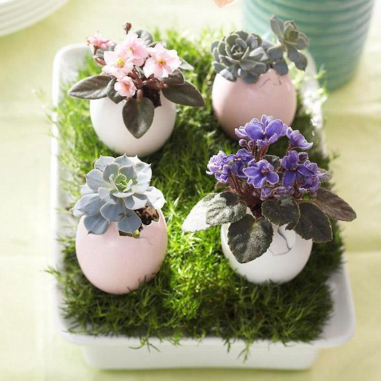 Recycling Egg Shells For Miniature Vases, Green Easter