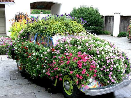 20 Beautiful Flower Beds Recycling Old Cars And Tires