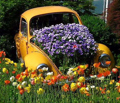 Container Home Design Ideas: 20 Beautiful Flower Beds Recycling Old Cars And Tires
