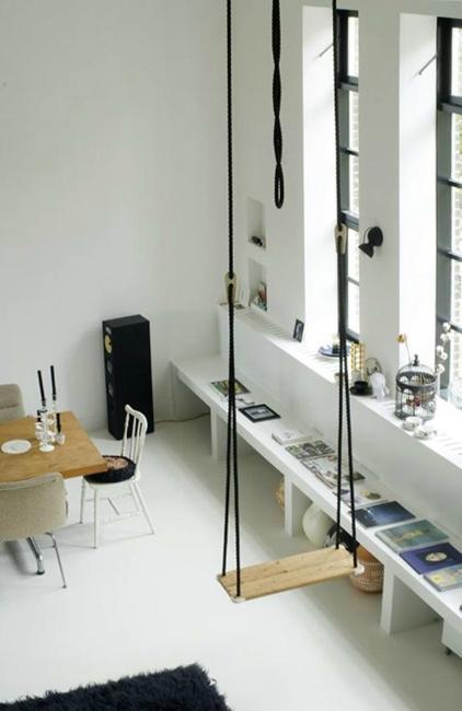 Living Room Design With Indoor Swing