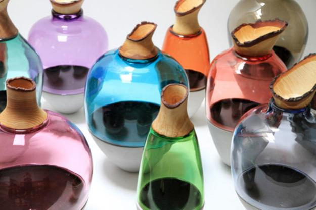 Colored Glass Vases Enhancing Handmade Decor Accessories With