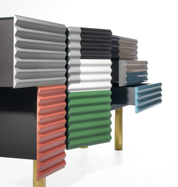 unique furniture with patchwork panel doors in various colors