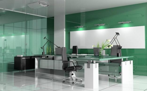 White And Green Colors For Contemporary Office Design