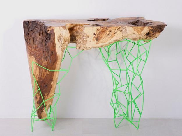 solid wood furniture design, console tables with wooden top and metal frame