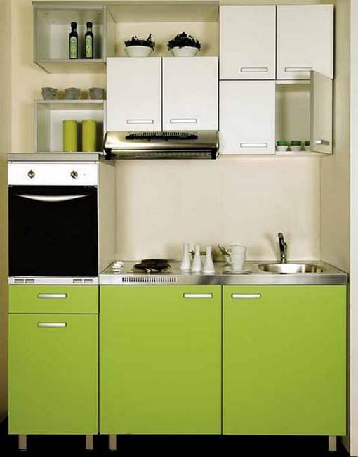 Bon Contemporary Small Kitchen With Stainless Steel Appliances, Contemporary  Kitchen Cabinets In White And Bright Green Colors. Small Kitchen With Space  Saving ...