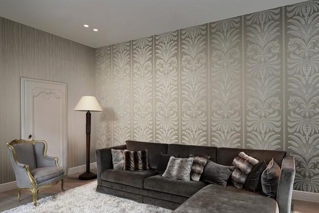 Jacquard Textile, Modern Wallpaper Design In Gray And Red Colors