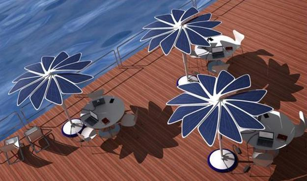 umbrellas with solar panels