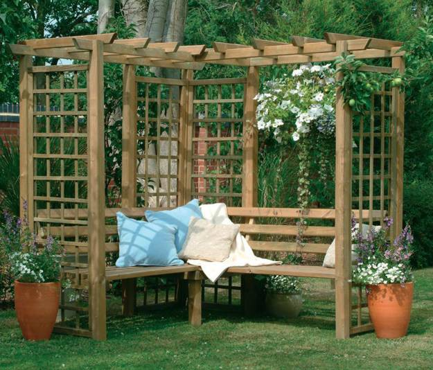 Wooden Pergola With Hanging Flowering Plants And Benches