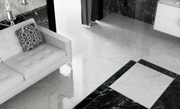 Contemporary Living Room Design With Floor Tiles In Black And White