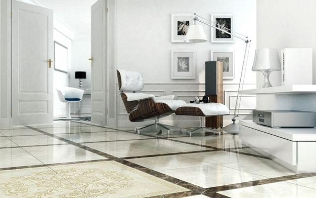 modern living room design with floor and wall tiles