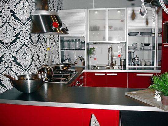Black White And Red Kitchen Colors Contemporary Cabinets Wall Decor