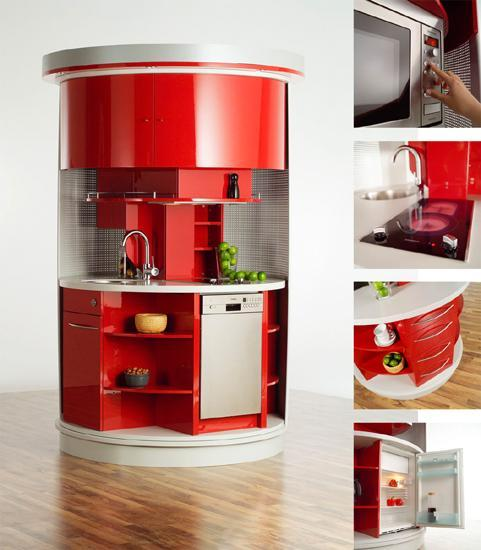 Kitchen Units For Small Spaces: 50 Plus 25 Contemporary Kitchen Design Ideas, Red Kitchen