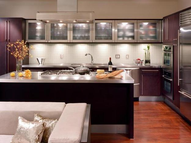 Wooden Kitchen Cabinets With Glass Doors, Kitchen Island Design In  Contemporary Style