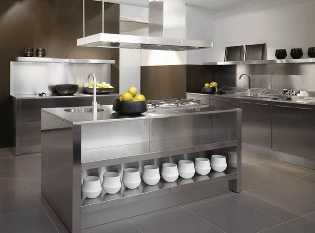 Gentil Contemporary Kitchen Design With Stainless Steel Island