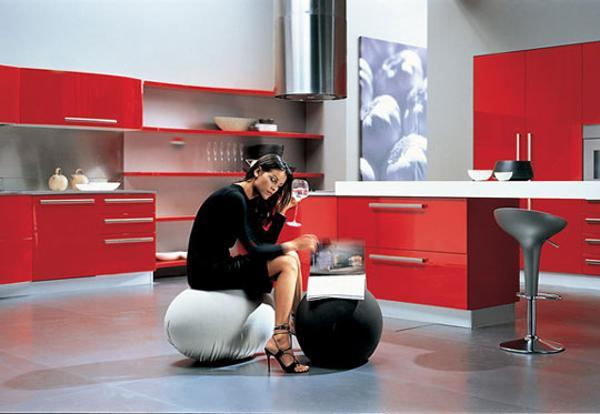 modern kitchens with furniture in red colors
