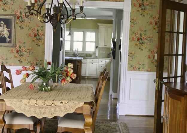 Flower Wallpaper For Dining Room Design And Decorating