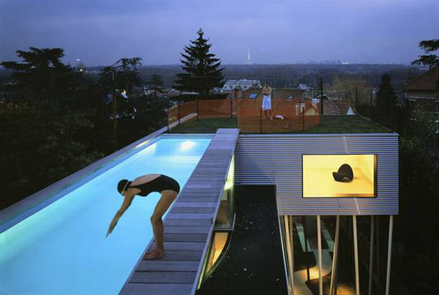 Rooftop Swimming Pool And Terrace With Grass
