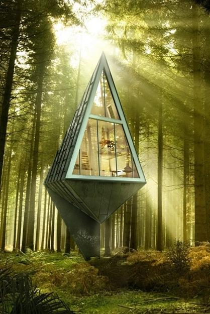 Roof Design Ideas: Tree Inspired Pyramid House Design Blending Eco Friendly