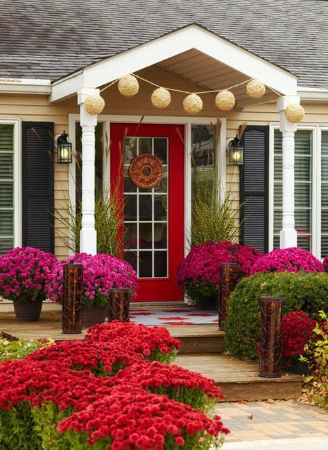 Front door decoration with red colors 22 house exterior - Feng shui exterior house paint colors ...