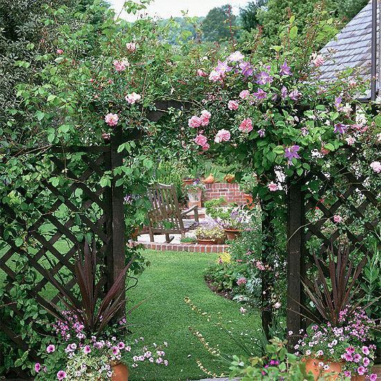 15 Amazing Spilling Flower Landscape Design Ideas: 15 Beautiful Wooden Arches Creating Romantic Garden Design