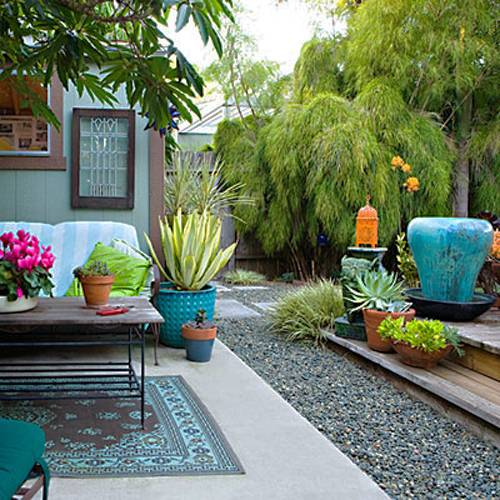 Small Backyard Landscaping Ideas And Bright Colorful Outdoor Decor