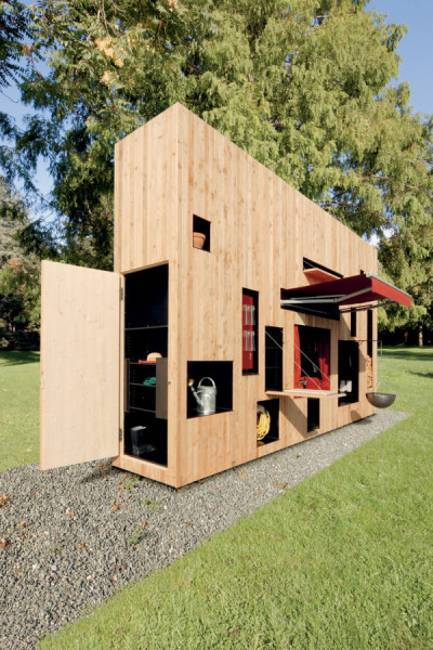 small wooden house, modern garden house