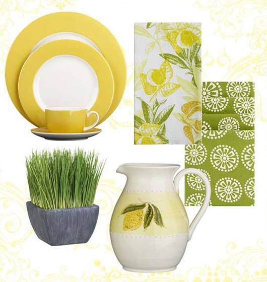 Home Decor Accessories, Decorative Fabrics And Modern Tableware Inspired By  Lemons, Yellow And Green Colors For Home Decorating