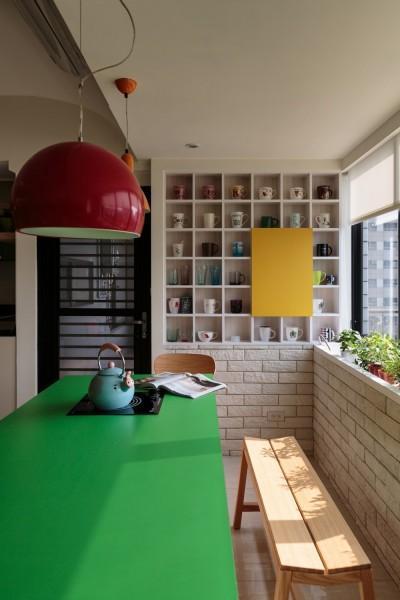 contemporary interior design with bright colors