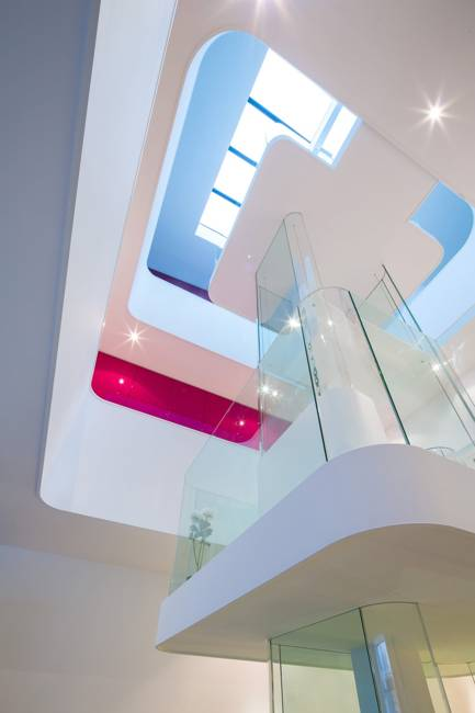 modern house design and interior decorating with glass and pink color
