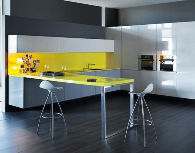 Tips For Kitchen Color Ideas: Yellow Kitchen Colors, 22 Bright Modern Kitchen Design And