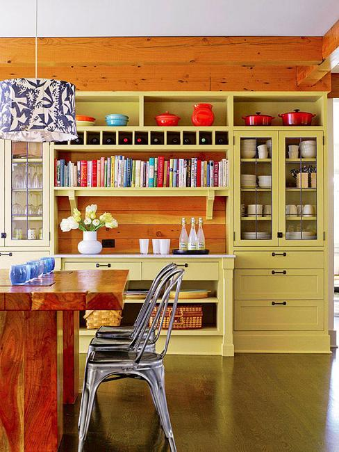 Wooden Ceiling Beams And Dining Table Red Tableware In Storage Cabinets Light Yellow Color