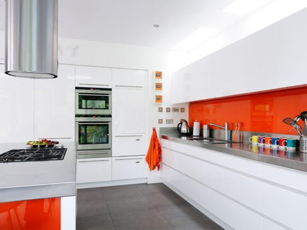 Contemporary Kitchen Design White Cabinets And Orange Accent Wall