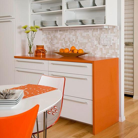 modern kitchens and decor in orange color
