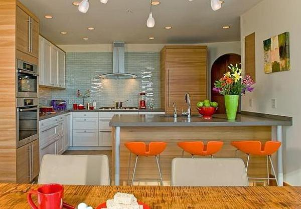 Contemporary Kitchen Design And Decor Orange Chairs